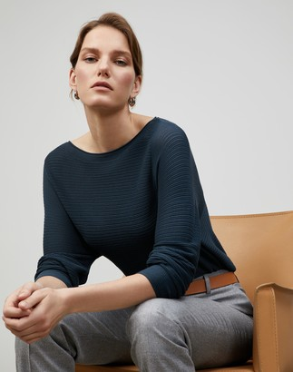 Lafayette 148 New York Plus-Size Matte Crepe Ottoman Stitch Bateau Neck Sweater