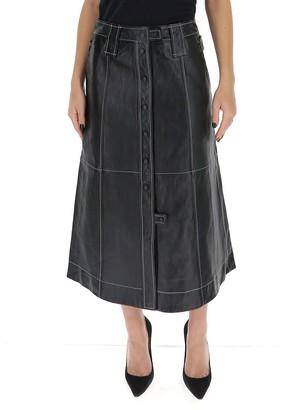 Ganni Leather Midi Skirt