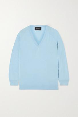 Simone Rocha Embellished Cutout Wool And Silk-blend Sweater - Light blue
