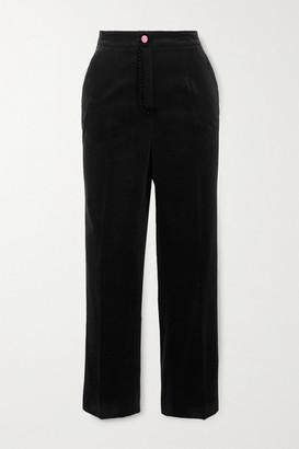 Dolce & Gabbana Topstitched Cotton-velvet Slim-fit Pants - Black