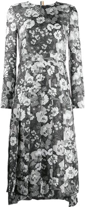 Thom Browne Floral-Print Pleated Dress