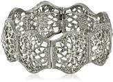 "1928 Jewelry ""Suriname"" Silver-Tone Flower Filigree Stretch Bracelet"