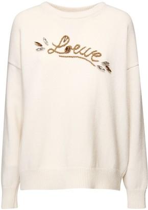 Loewe Wool Knit Sweater W/ Embellished Logo