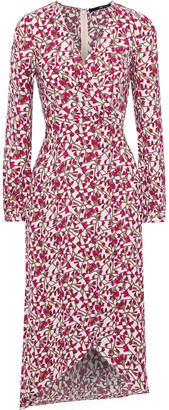 Jay Godfrey Wrap-effect Floral-print Crepe Midi Dress