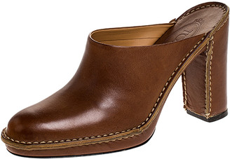 Tod's Tan Leather Platform Clog Mules Size 37.5