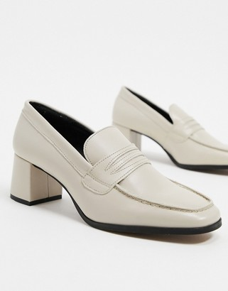 Depp leather square toe heeled loafers in beige