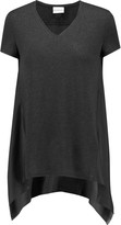DKNY Oversized silk-paneled modal-blend T-shirt