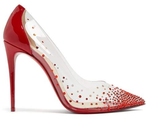 Christian Louboutin Degrastrass 100 Crystal Embellished Pumps - Womens - Red Multi