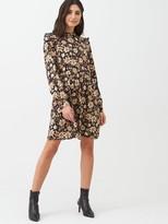 Warehouse Neutral Daisy Mini Dress - Natural