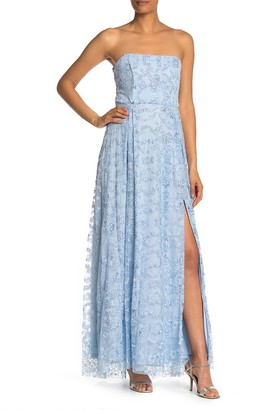Jump Strapless Beaded Lace Gown