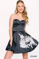 Jovani Strapless with Floral Applique A-line Short Dress 42872