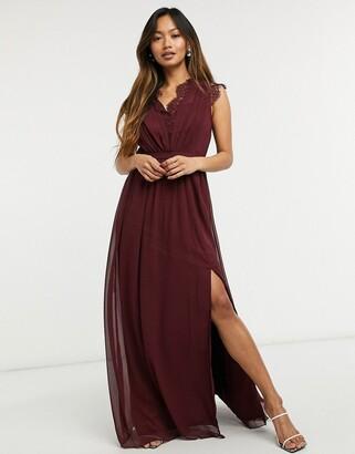Little Mistress lace detail maxi dress in burgundy