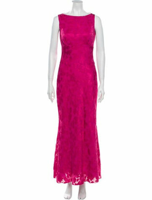 Nicole Miller Bateau Neckline Long Dress Pink