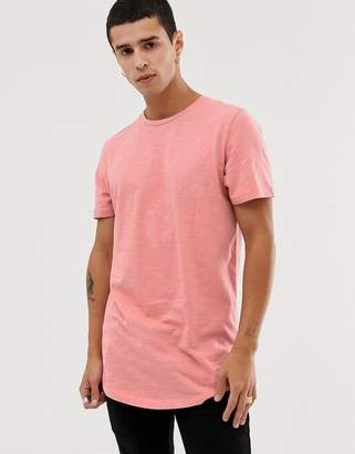 Jack and Jones Originals longline curved hem t-shirt in pink
