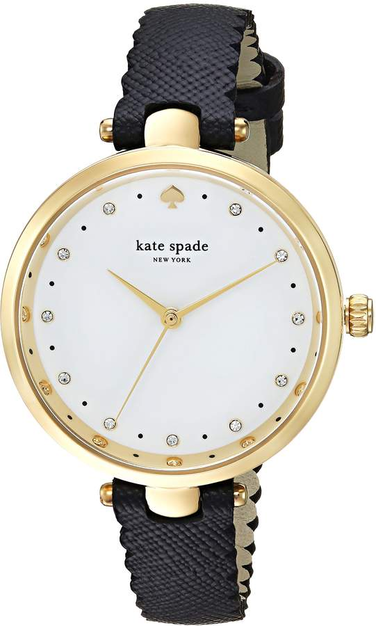 Kate Spade Women's 'Holland' Quartz Stainless Steel and Leather Casual Watch, Color:Black (Model: KSW1356)