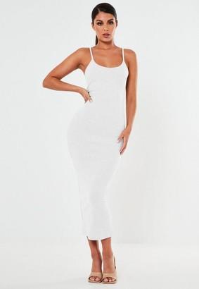 Missguided White Ribbed Strappy Bodycon Midi Dress