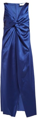 Marina Moscone - Twist-front Satin Dress - Blue