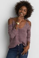 American Eagle Outfitters AE Cold Shoulder Tie Pullover