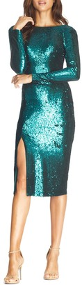 Dress the Population Natalie Sequin Long Sleeve Body-Con Dress
