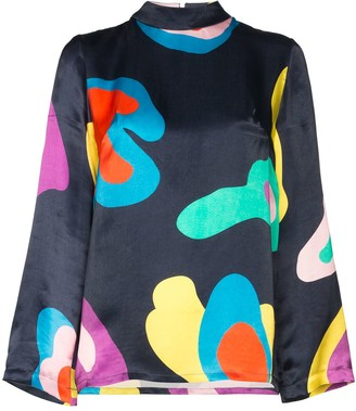 Mira Mikati Abstract Print Long Sleeve Blouse