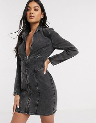 Asos Design denim fitted blazer mini dress in washed black