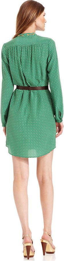 MICHAEL Michael Kors Dress, Long-Sleeve Printed Belted Shirtdress