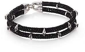 Black Diamond StingHD Men's Black Diamond, Silver& Stingray Wrap Bracelet
