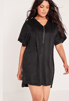 Missguided Plus Size Faux Suede Zip Up Shift Dress Black