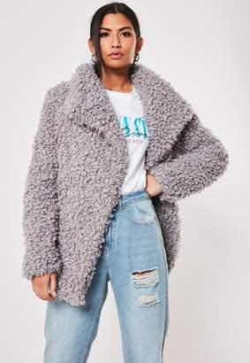 Missguided Tall Grey Faux Fur Shaggy Waterfall Jacket