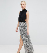 Asos Wrap Maxi Skirt in Animal Print