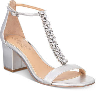 Badgley Mischka Lindsey Block-Heel Evening Sandals Women Shoes