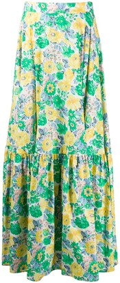Plan C Floral Flared Maxi Skirt
