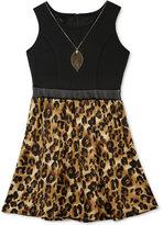 Amy Byer Girls' Contrast Animal-Print Dress