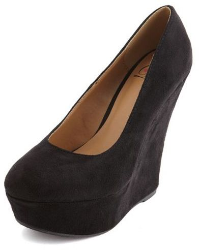 Charlotte Russe Round-Toe Sueded Wedge