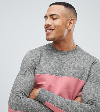 Asos Design DESIGN Tall sweatshirt with color blocking-Pink