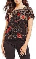 Jolt Floral Printed Lace-Trim Burnout Velvet Top