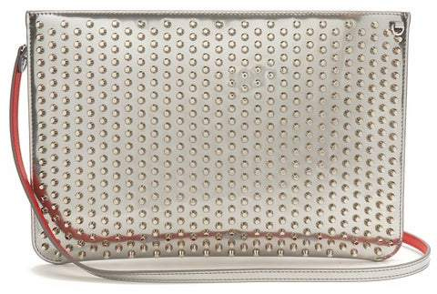 Christian Louboutin Loubi Spike Embellished Leather Clutch - Womens - Silver