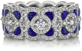 De Beers White Gold, Diamond and Lapis Lazuli Ring