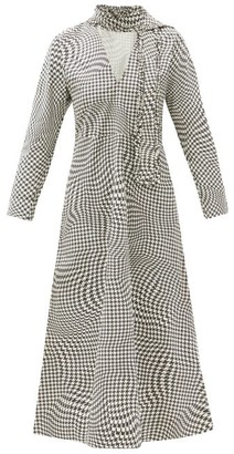 Ganni Optical Houndstooth Neck-tie Cotton Midi Dress - Black White