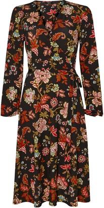 Wallis **TALL Black Floral Print Midi Wrap Dress