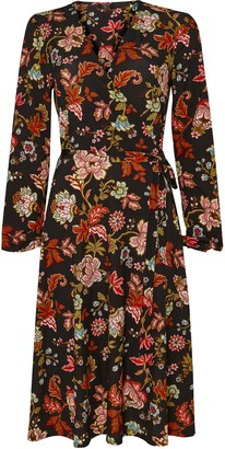 Wallis **TALL Black Floral Print Midi Wrap Dress