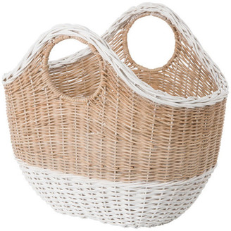 Kouboo Oval Tote Decorative Wicker Storage Basket, Natural and White