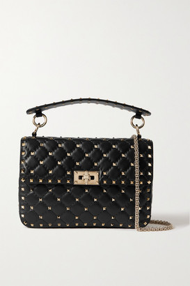 Valentino Garavani Rockstud Spike Small Quilted Cracked-leather Shoulder Bag - Black
