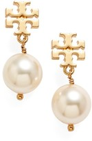 Tory Burch Women's Logo Faux Pearl Drop Earrings