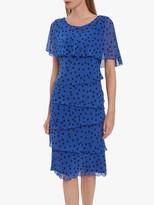 Gina Bacconi Evanna Ruffle Spot Dress, Royal/Black