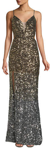 La Femme Ombré 3D Sequin High-Slit Gown