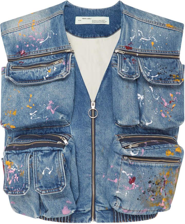 Off-White Painted Distressed Denim Vest