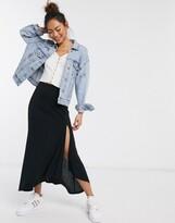 Asos Design DESIGN ribbed fluted maxi skirt with split