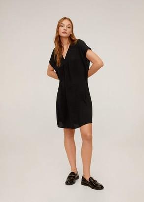 MANGO V-neckline short dress black - 2 - Women