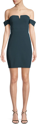 Aidan Mattox Off-the-Shoulder Fitted Crepe Mini Cocktail Dress